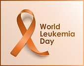 Orange ribbon poster for World leukemia day. Blood cancer awareness card