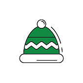 Winter hat icon on white background.