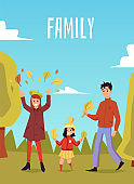 Vector illustration of a happy family walking in an autumn park.