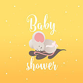 Baby shower invitation card with little sleeping mouse vector illustration.