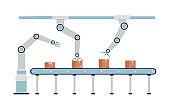 Robotic arm conveyor belt - automatic cardboard box packaging system