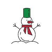Cute snowman icon on white background.