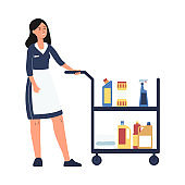 Hotel room service worker - cartoon cleaner woman in maid uniform with cart