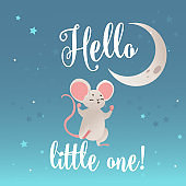 Greeting card with cute mouse and lettering, cartoon vector illustration.