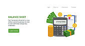 Landing page template with with calculator, gold coins, dollars and balance sheet