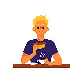 Blonde man drinks tea or coffee with dessert, flat vector illustration isolated.