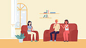 Couple visits psychologist for family psychotherapy, flat vector illustration.