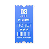 Template of blue paper ticket for event identity, realistic vector illustration.