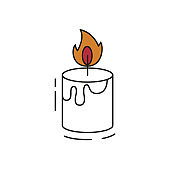 Cute candle icon on white background.