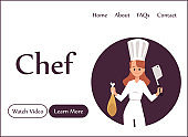 Chef cook web banner for culinary and gourmet site, flat vector illustration.