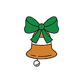 Christmas bell icon on white background.