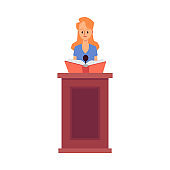 Lawyer woman makes a speech in courthouse flat vector illustration isolated.