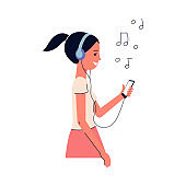 Woman character in headphones listens music, flat vector illustration isolated.