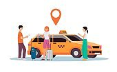 Online taxi service - cartoon people standing by yellow car holding phones.