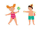 Happy children in swimsuits a flat cartoon isolated vector illustration