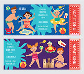 Tickets for children aqua park and beach playground flat vector illustration.