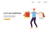 Website banner template inviting to shopping, flat vector illustration.