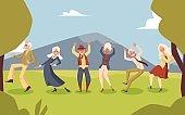 Elderly people dancing at party on landscape backdrop flat vector illustration.