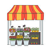 Street market kiosk or stand with flowers, sketch vector illustration isolated.