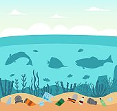 Plastic ocean pollution concept with trash and fish silhouettes in the sea.