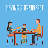 Family with child having a breakfast together at home flat vector illustration.