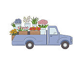 Delivery pickup truck with flowers, sketch cartoon vector illustration isolated.