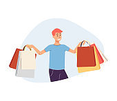 Young cheerful man holding shopping bags flat vector illustration isolated.