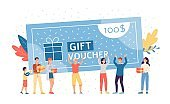 Big gift voucher and crowd of happy cartoon people celebrating coupon