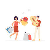 Happy shoppers with lot of bags and discount sale a vector isolated illustration