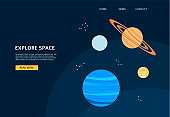 Space galaxy banner for astronomy website, cartoon planets on dark sky