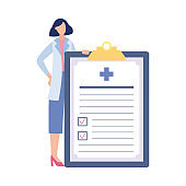 Woman doctor near checklist for medical exam, flat vector illustration isolated.