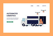 Automated logistics and drone shipping website banner template.