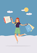 Vector poster with happy female shopper with lot bags after sales and discounts
