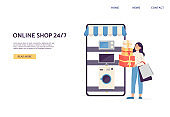 Online shop website banner with cheerful buyer flat vector illustration.