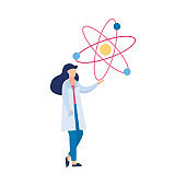 Woman scientist or doctor pointing on molecule flat vector illustration isolated.