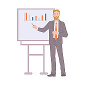 Businessman shows presentation with graphs a flat vector isolated illustration