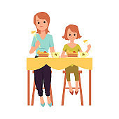 Joint meal of mother and daughter scene, flat vector illustration isolated.