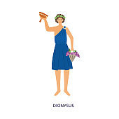 God of wine greek Dionysus with a goblet flat vector illustration isolated.