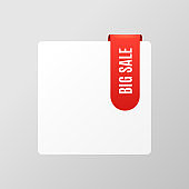 Blank item icon template with red big sale top banner label.