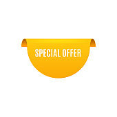 Special offer rounded corner element realistic vector illustration isolated.