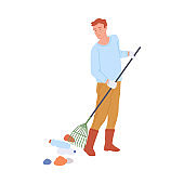 Janitor or volunteer cleaning the park a flat vector isolated illustration