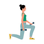 Woman in activewear doing strength workout, flat vector illustration isolated.