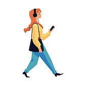 Woman walking in headphones with phone flat vector illustration isolated.