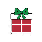 Gift box icon on white background.
