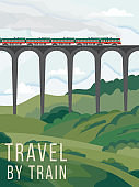 Poster or banner inviting travel by passenger train flat vector illustration.