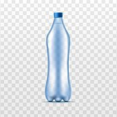 Plastic clear water bottle mockup, realistic vector illustration isolated.