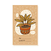 Hygge addressing card design with plant, sketch cartoon vector illustration.