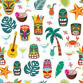 Colorful tiki mask and Hawaii vacation symbol seamless pattern