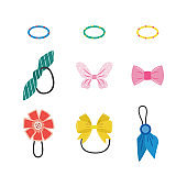 Isolated hair accessories set - colorful rubber bands with bows