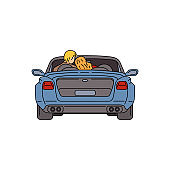 Cartoon couple sitting inside blue car with open roof seen from back view